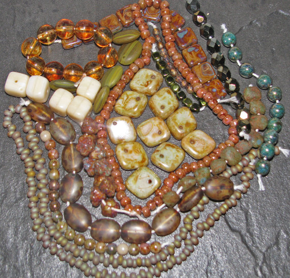 Green & Brown Picasso Czech Glass Beads And Toho Seed Collection