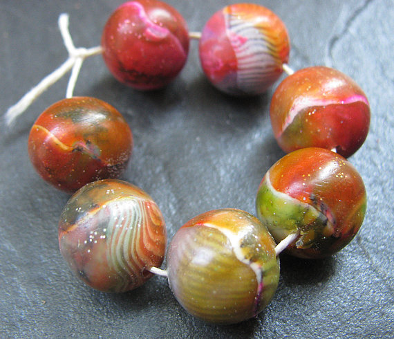 Set of 8 Handmade Clay Round Beads Olive Orange Red Navy White Faux Glass Gemstone