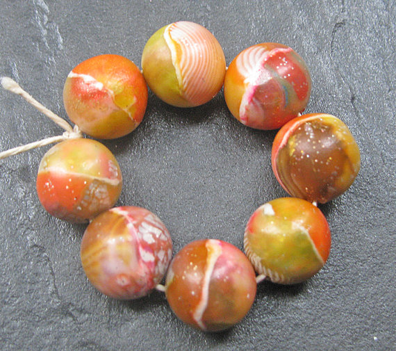 Listing ToolsEdit Renew PromoteCopy Deactivate Delete Stats Set of 8 Handmade Clay Round Beads Orange Yellow Olive Chestnut Faux Glass Gemstone