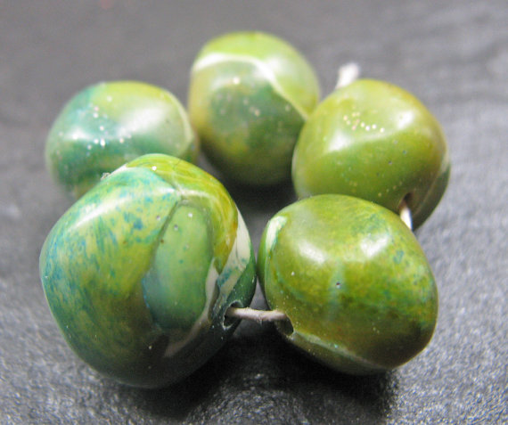 Set of 5 Handmade Clay Beads Green Blue Turquoise Faux Glass Gemstone