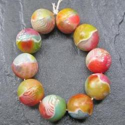 Set of 10 Handmade Polymer Clay Round Beads Pink Blue Green Orange Yellow White
