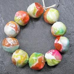 Set of 10 Handmade Clay Nugget Beads Pink Green Blue Yellow Silver White Faux Glass Gemstone