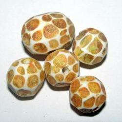 Set of 5 Polymer Clay Distressed Facteded Beads Golden Yellow Green Sunflowers Van Gogh Including Focal
